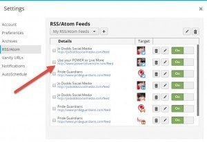 hootsuite rss feed set up